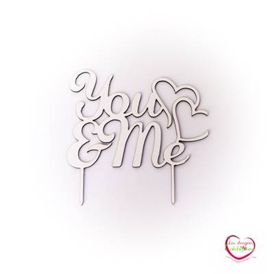"Cake topper mariage ""you and me"" en bois"