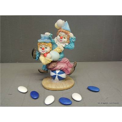 Figurine clown double chapeau 15 cm seul