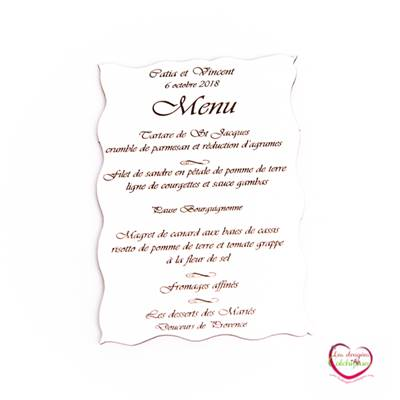 Menu de table en bois blanc 15x11 cm