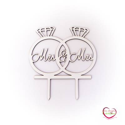 Cake topper alliances en bois